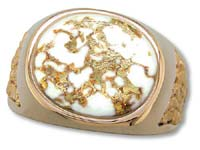 Gold Quartz Men's Ring